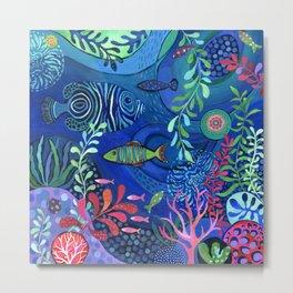 Botanical Sea Garden Metal Print