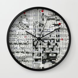 Pretty Morning Rainbow & Butterfly Pep Rally (P/D3 Glitch Collage Studies) Wall Clock