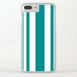 Mixed Vertical Stripes - White and Dark Cyan Clear iPhone Case