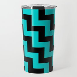 Black and Cyan Steps LTR Travel Mug