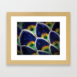 Hand Painted Peacock Plumes Framed Art Print