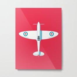 Spitfire WWII fighter aircraft - Crimson Metal Print