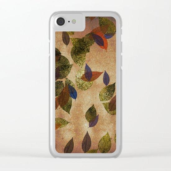 Autumn-world 3 - gold glitter leaves on dark backround Clear iPhone Case