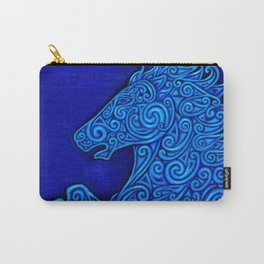 Blue Celtic Horse Abstract Spirals Carry-All Pouch