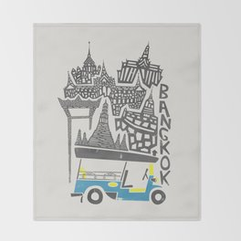 Bangkok Cityscape Throw Blanket