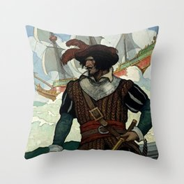 """Pirate"" Book Cover by NC Wyeth Throw Pillow"