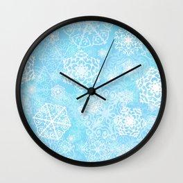 Snowflakes - Blue Wall Clock
