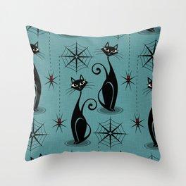 Retro Atomic Spooky Cats Throw Pillow