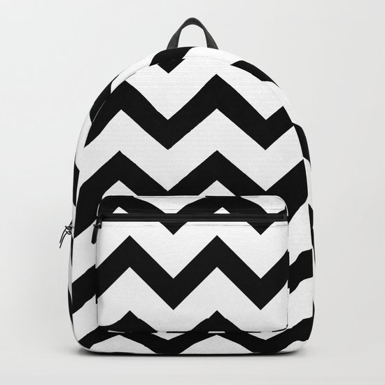 Simple Black and white Chevron pattern Backpack