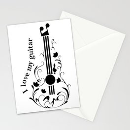 I love my guitar Stationery Cards