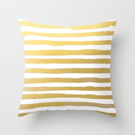 Gold Brushstroke Watercolor Stripes Throw Pillow