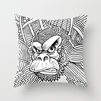 planet of the apes Throw Pillows featuring Rise of the Dawn of the Planet of the Psychedelic Apes by The Rural drawer by Inky Doodles