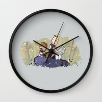 hobbes Wall Clocks featuring Chunk and Sloth by Hoborobo