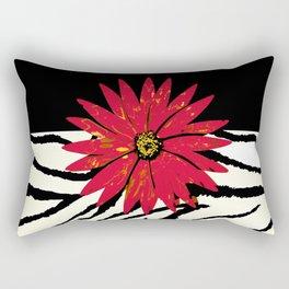 Animal Print Zebra Black and White and Red flower Medallion Rectangular Pillow