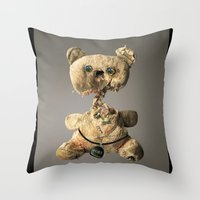 hologram Throw Pillows featuring Sad Mentalembellisher Poet Teddy Bear With Hologram Eyes by mentalembellisher