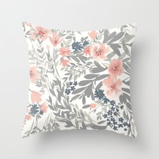 Gray and Pink Watecolor Floral Pattern Throw Pillow