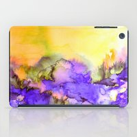 jazzberry iPad Cases featuring INTO ETERNITY, YELLOW AND LAVENDER PURPLE Colorful Watercolor Painting Abstract Art Floral Landscape by EbiEmporium