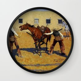 """Frederic Remington Western Art """"His First Lesson"""" Wall Clock"""