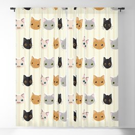 Cute Kitten & Stripes Pattern Blackout Curtain