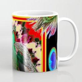 GREEN PEACOCK & FEATHERS RED-BLACK ART Coffee Mug