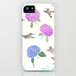 seamless  pattern with flowers and hummingbirds watercolor iPhone Case