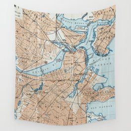 Vintage Map of Boston MA (1906) Wall Tapestry