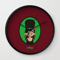 amy hamilton Wall Clocks featuring Amy by Juliana Motzko