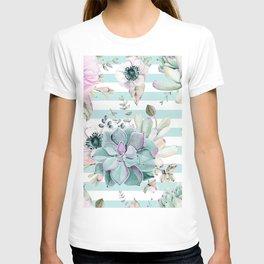 Succulents in the Garden Succulent Blue Stripes T-shirt