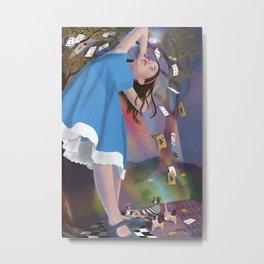 Flying Cards Dissolve Alice's Dream Metal Print
