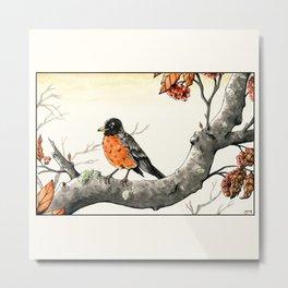 Autumn Robin (ukiyo-e inspired) Metal Print