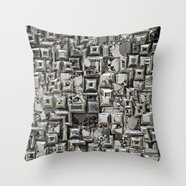 Abstract Geometric Skulls Collage Throw Pillow