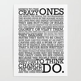 Here's To The Crazy Ones - Steve Jobs Poster