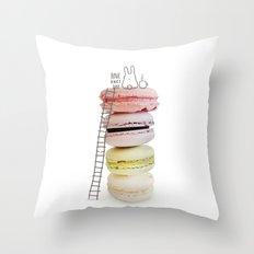 Bunny & macarons Throw Pillow