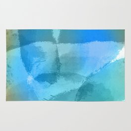 Blue Beach Abstract Watercolor Rug