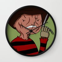 freddy krueger Wall Clocks featuring Adventure Time with Freddy Krueger by MrDamnKids