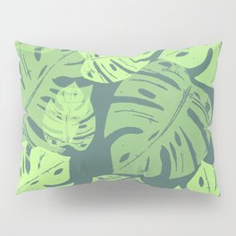 Linocut Monstera Tropical Green Pillow Sham