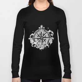 Black and White Scrolling Compass Rose Long Sleeve T-shirt