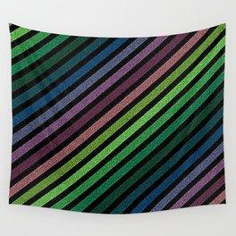 Dark Pixel strIpes Green Teal Blue Purple Mauve Wall Tapestry