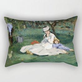 Édouard Manet - The Monet Family in Their Garden at Argenteuil Rectangular Pillow
