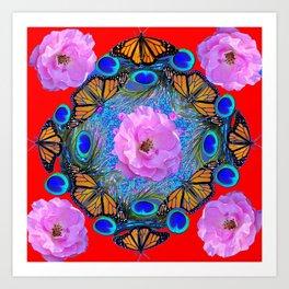 MONARCH BUTTERFLIES & ROSES  PEACOCK ART & RED ABSTRACT Art Print