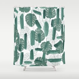 Modern green white watercolor tropical floral brushstrokes Shower Curtain