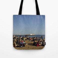 Busy Brighton Beach Tote Bag