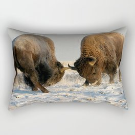 BISON FIGHTING Rectangular Pillow