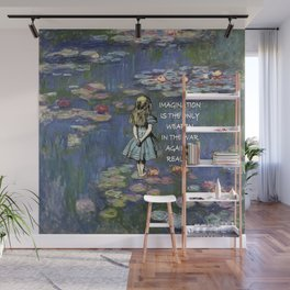 Water Lilies Magic - Alice In Wonderland Quote Wall Mural