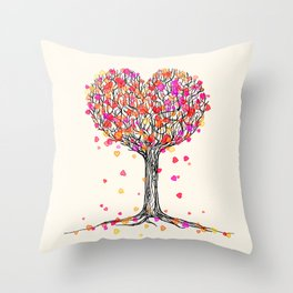 Love in the Fall - Heart Tree Illustration Throw Pillow