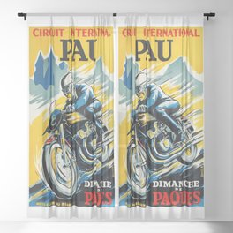 Grand Prix de Pau, Race poster, vintage motorcycle poster, retro poster, Sheer Curtain