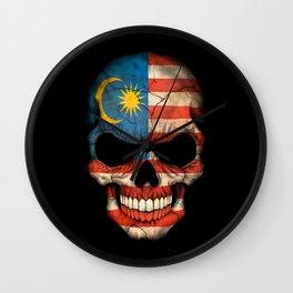 Dark Skull with Flag of Malaysia Wall Clock