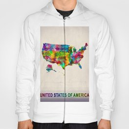 USA Map in Watercolor Hoody