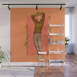 Green Haired Soft Boy with Peachy colored theme Wall Mural