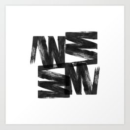 Black ink brush strokes abstract painting Art Print